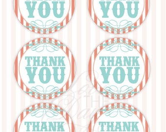 Vintage Circus Party PRINTABLE Thank You Tags (INSTANT DOWNLOAD) by Love The Day