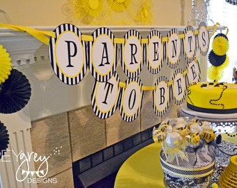 "Baby Bee Shower PRINTABLE ""Parents To Bee"" Banner (INSTANT DOWNLOAD) from Love The Day"