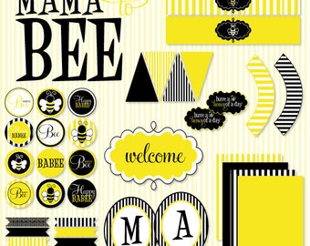 Mama to Bee Baby Shower PRINTABLE Full Party (INSTANT DOWNLOAD) by Love The Day