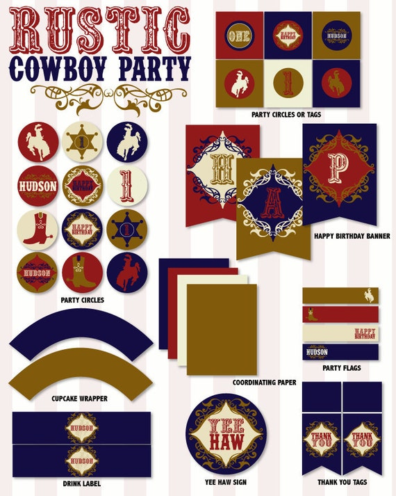 Rustic Cowboy Party PRINTABLE DIY Custom Birthday Full Collection by Love The Day