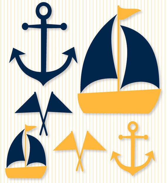 Nautical Baby Shower PRINTABLE Party Decals (INSTANT DOWNLOAD) by Love The Day