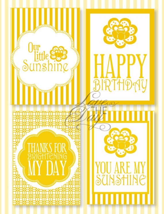 Yellow Sunshine Birthday PRINTABLE Party 5x7 Signs (INSTANT DOWNLOAD) by Love The Day