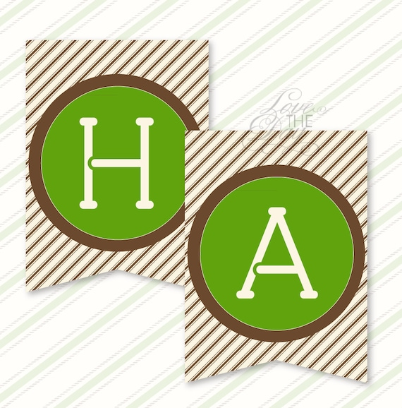 Camping Party PRINTABLE Happy Birthday Banner from Love The Day