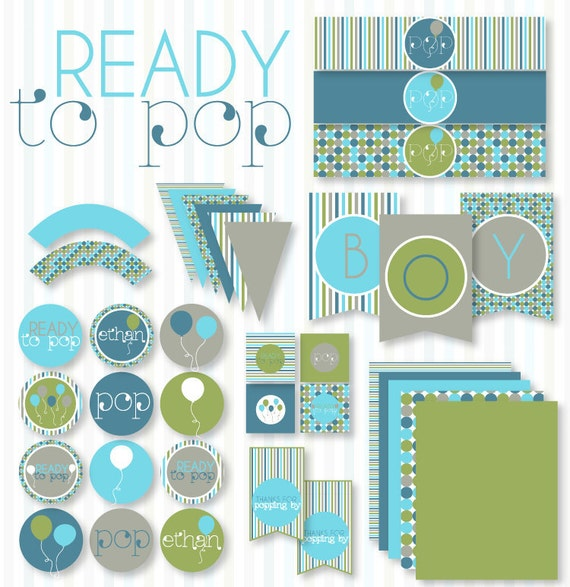 Ready To Pop PRINTABLE Baby Shower (INSTANT DOWNLOAD) by Love The Day