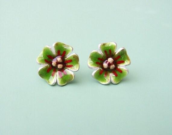 Earrings 'Green Flowers'  silver enameled