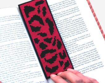 Leopard Print Cross Stitch Kit Hot Pink Bookmark