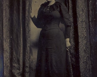Victorian Woman and Dress with GRAND ENTRANCE Between CURTAINS in Interesting Tintype Photo Circa 1870s