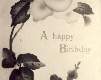 Little BOY'S  FACE in FLOWER in Unique Happy Birthday Photo Postcard circa 1910