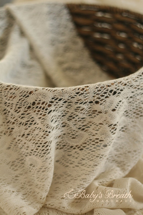 Cream Crochet Knit Stretch Wrap