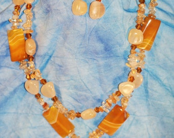 Yellow Agate Cream Agate and Citrine necklace and earrings