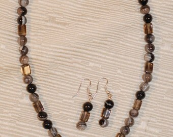 Botswana Agate and Smoky Quartz necklace and earrings