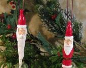 Christmas Ornament Twig Santa Holding Present Behind Back