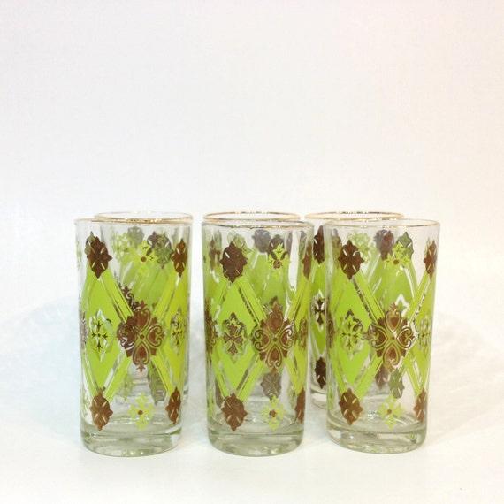 Set of 6 Vintage Glasses Green Brown Gold Drinkware Glassware Diamond Brocade Pattern