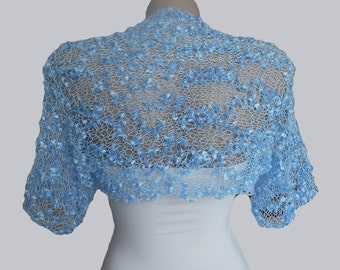 Knit Blue  Bolero, Wedding Bolero Shrug Sleeves Jacket, Size S-M Weddings Bridal  Bridesmaid Women For her, Bridal Cover Up, Bridal Jacket