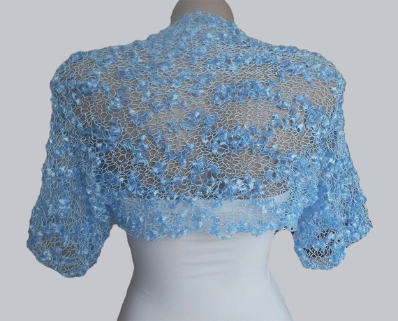 Knit Blue  Bolero, Wedding Bolero Shrug Sleeves Jacket, Weddings Bridal  Bridesmaid Women For her