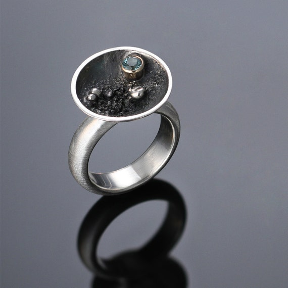 "Sterling Silver & 14k Gold, Teal Blue Tourmaline ""Nebula Cup Ring"""