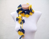 Blue Yellow,Crochet Lariat Scarf,Flower Lariat Scarf,Long Necklace