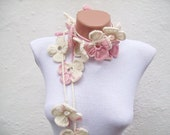 Pastel Crochet Lariat Scarf,Flower Long Necklace,Pink White