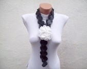 Lariat Scarf,Crochet Flower Scarf,Lariat Necklace,Brooch Pin