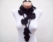 Lariat Scarf, Black, Crochet Scarves, Modern Scarf, Flower Autumn Accessories, Floral Jewelry, Women Crocheted  Long Necklace