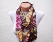Floral Pattern infinity Scarf,Loop Scarf,Circle Scarf,Fabric Scarf,Women Scarf