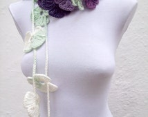 Hand crochet Lariat Scarf  White Green Purple Lilac Flower Lariat Scarf Colorful Long Necklace Winter Fashion women scarf mothers day
