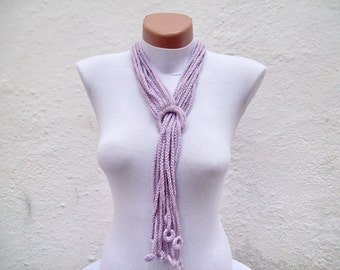 Lariat Necklace,Scarf,Crochet Lariat Scarf,Lariat Scarf,Women