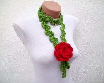 Hand crochet Lariat Scarf Green Red Flower Lariat Scarf Long Necklace Holiday Accessories women scarf  Valentines gift