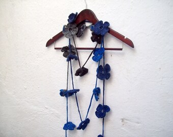 Crochet Lariat Jewelery,Hand Crochet Lariat Scarf,Flower,Winter scarf,Valentines