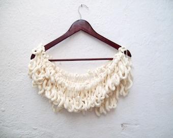 Mulberry Scarf, Cream, Pompom  Scarves, Pom pom, Pon pon, Crochet Long Scarf, Crocheted Accessories, Women Neck Neckwarmer, Cocoon