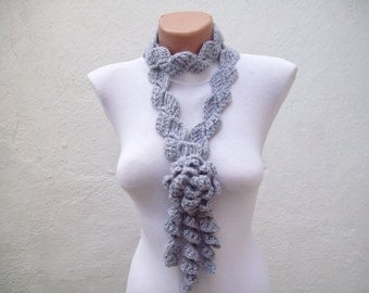 Crochet Scarf, Lariat Scarves, Grey, Flower Jewelry, Long Necklace, Crocheted Ruffle Accessories, Women Frilly  Neck Scarf