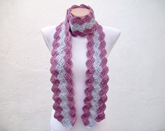 Crochet Scarf,Grey Purple,Long Scarf,Gift for her,Women Scarf