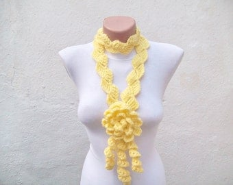 Women Crochet Floral Scarf, Crochet Lariat Scarves, Flower Crocheted Accessories, Skinny Circle Scarf, Yellow