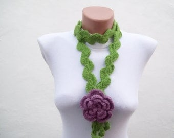Crochet Necklace, Lariat Scarf, Flower Crochet Scarves, Women Crocheted Scarflette, Floral Jewelry, Green, Lilac, Purple, Gift for her