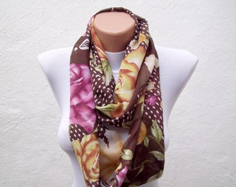 Floral Pattern infinity Scarf, Loop Scarves, Circle, Fabric Necklace, Tube Autumn Accessories, Neckwarmer, Brown Green Pink Yellow
