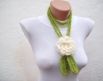 Hand crochet Lariat Scarf  Cream Green Flower Lariat Scarf Long Necklace Holiday Accessories  women scarf mothers day