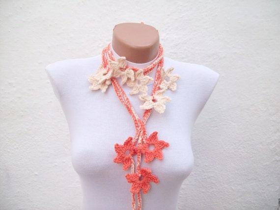 Hand crochet Lariat Scarf Orange Cream Flower Lariat Scarf Long Necklace women scarf Valentines gift