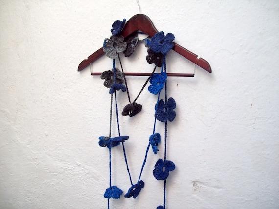 Crochet Lariat Jewelery,Hand Crochet Lariat Scarf,Flower