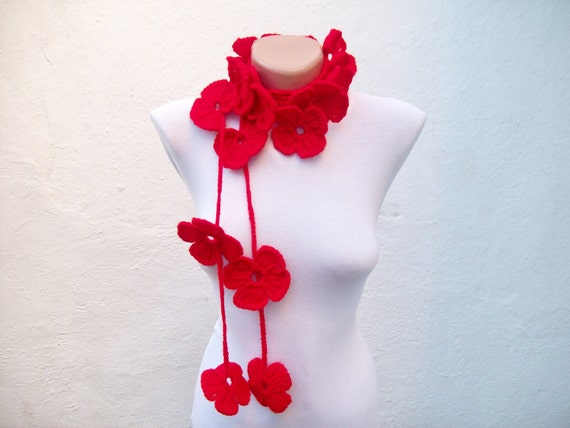 Crochet Lariat Scarf, Red Flower, Lariat Scarf, Long Necklace