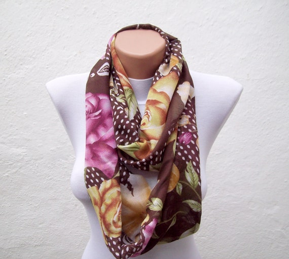 Floral Pattern infinity Scarf,Loop Scarf,Circle Scarf,Fabric Scarf