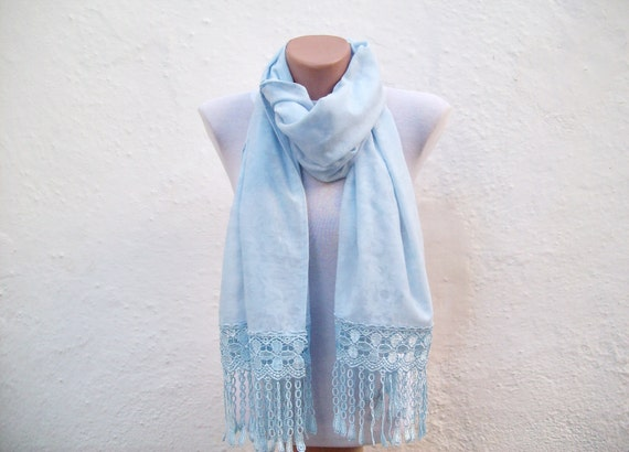 Handmade Traditional Turkish Fabric Scarf-Guipure Scarf -blue-rectangle women scarf mothers day