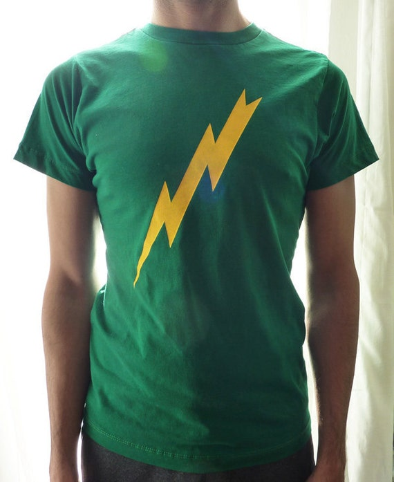 Sale - Lightning Bolt on Kelly Green T-Shirt Mens/Unisex