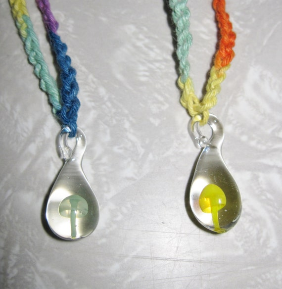 How To Make Hemp Necklaces: Mushroom HEMP Necklaces 2 New Glass Pendant Charms SHROOMS
