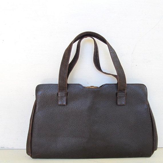 Brown Kelly Style Handbag Textured Leather Simple Elegant 50s 60s Vintage Frame Purse Top Handle Bag