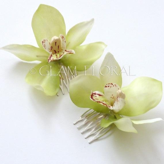 2 Cymbidium Orchid Fascinators. Mini Cymbidiums Orchids . Bridal Flower Hair Clips - light lime green,  lavender mauve pink