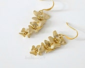 Gold flower earrings, dainty dangle earrings, trio flowers charm drop, bridesmaid gift, wedding jewelry, everyday, by balance9