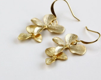 Gold Orchid Earrings, Two Flowers drop dangle, delicate everyday jewelry, holidays gift, bridesmaid wedding, by balance9