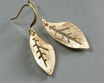 Gold leaf earrings, dainty leaf drop earrings, delicate charm dangle, gold filled ear wire, everyday jewelry, holidays gift, by balance9