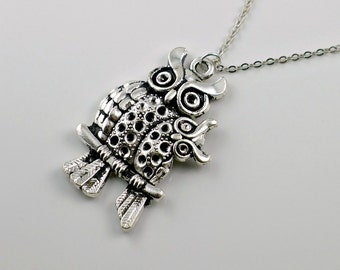 Owl pendant necklace, mom and baby owl charm, antique silver birds, family love, mother and child, by balance9