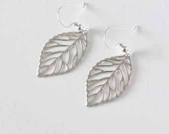 Silver leaf Earrings, filigree dangle earrings, sterling ear wire, delicate drop, bridesmaid wedding, simple everyday jewelry, by balance9